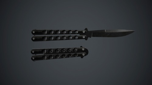 Balisong Knife Pbr Game Ready 3d Model Low Poly Animated