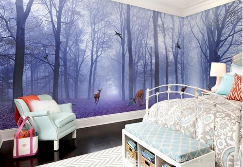 Bedroom Football Wallpaper Custom Modern Purple Forest