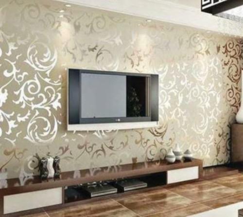 Tv Unit Design Works Gold Wallpaper Living Room Ideas