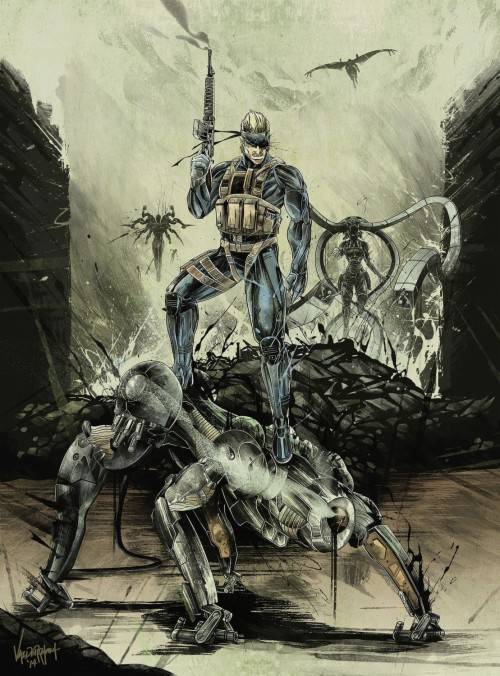 Mgs4 Old Snake Metal Gear Solid Illustration Cool Metal