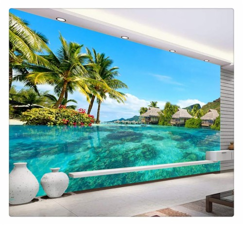 Custom 3d Photo Wallpaper Hd Maldives Sea Beach Natural