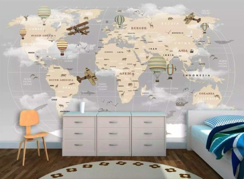 World Map Kid Room (#2285024) - HD Wallpaper & Backgrounds ...