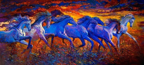 Running Horse Painting Unframed Canvas Painting Seven 7 Horse
