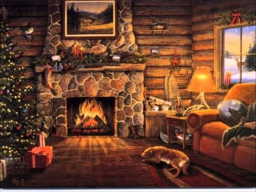 Winter Cabin Wallpaper Christmas Fireplace Log Cabin 1389337