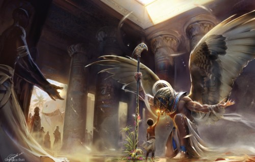 Photo Wallpaper God Wings Boy Columns Temple Egypt