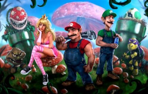 Wallpaper Mario Luigi Princess Peach Mario Bros Goomba