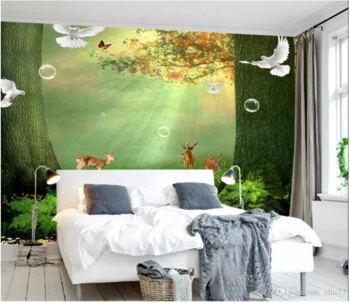 3d Wall Paper Custom Photo Silk Wallpaper Mural Natural