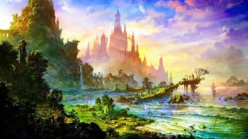 Fantasy World Digital Wallpaper Fantasy Art Nature Scenery Fantasy Background Anime 1906215 Hd Wallpaper Backgrounds Download