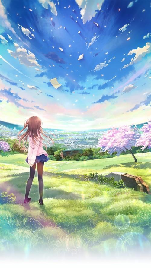 Anime World Beautiful Girl Sky Android Wallpaper Beautiful