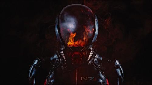Andromeda N7 Soldier Flame Helmet Wallpaper Mass