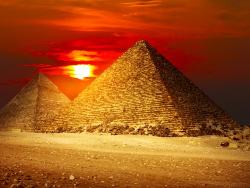 Monument Sunset Great Pyramid Of Giza Sky Cairo Egypt