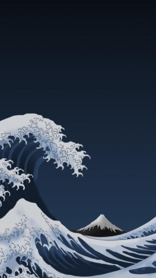 Iphone Wallpaper Blue Waves 948129 Hd Wallpaper