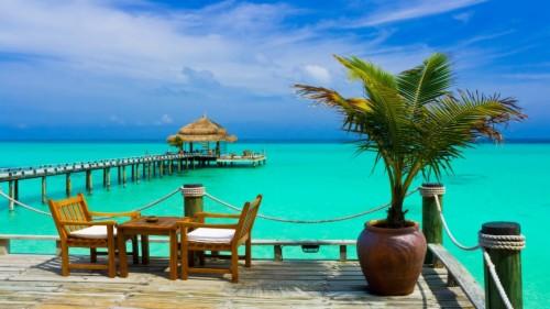 Maldives Island Water Beautiful Resort Clouds Palm