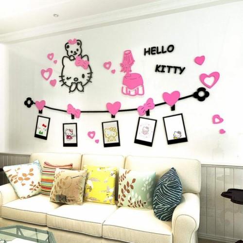 House Sticker Hello Kitty Backdrop Wallpaper Pvc Wall 粉紅
