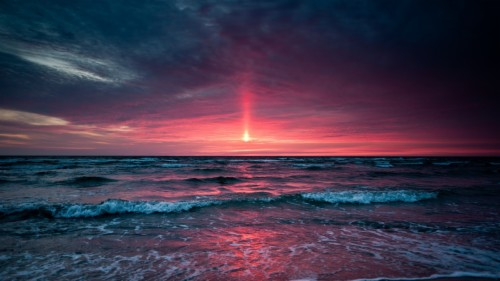 Sea Red Sunset Wallpaper Atardecer Rojo Y Azul 2194723