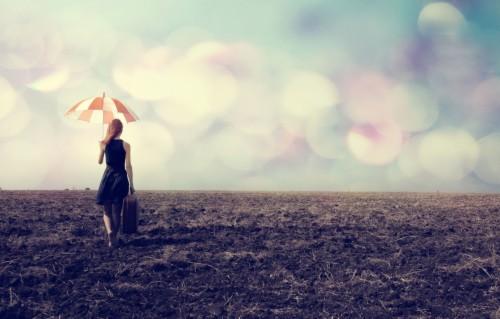 Photo Wallpaper Girl Nature The Way Umbrella Background