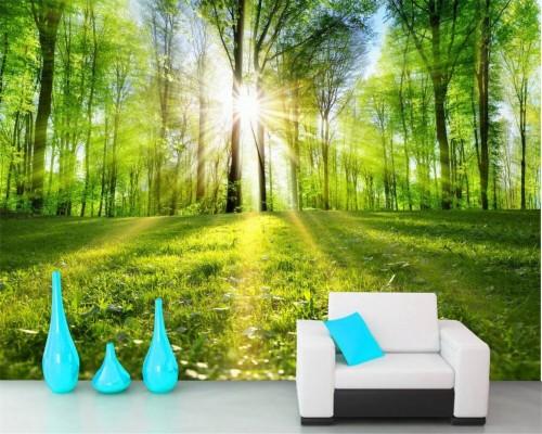 Beibehang 3d Natuur Wallpaper Quiet Forest Landschap ว อง