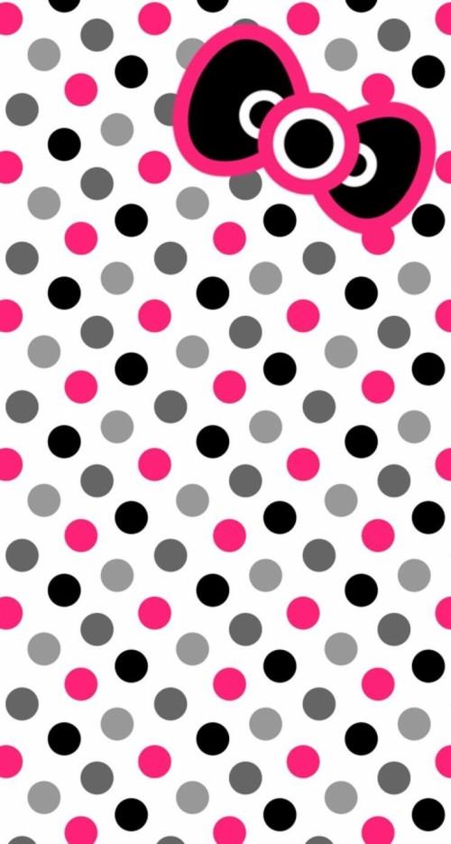 Hello Kitty Flannel Dots On Dots Fuchsia Fabric Polka Dot