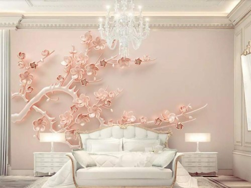 Wallpaper 3d Wall Mural Luxury Rose Gold Embossed Plum Bedroom