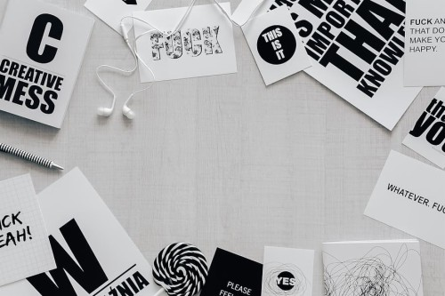 302 3025581 top view of black and white typography sentences