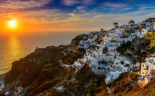 Image result for mountain of Santorini""