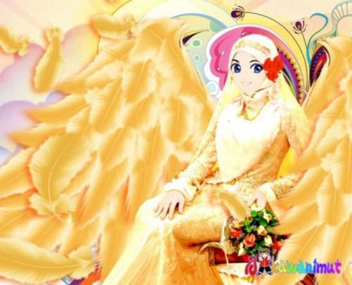 Kartun Gambar Muslimah Cantik Berjilbab Kuning Kartun Muslimah