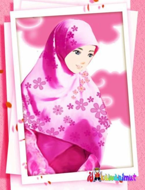 Kartun Muslimah Cantik Berhijab Merah Muda Kartun Muslimah