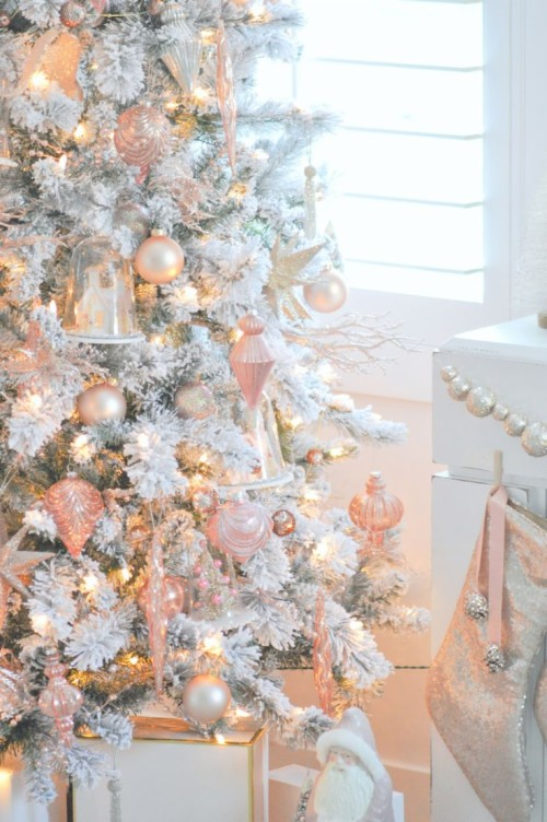 49 497525 pink gold white christmas tree rose gold christmas