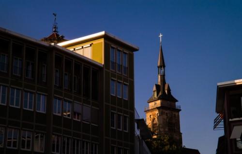 Photo Wallpaper City Autumn Evening Building Stuttgart