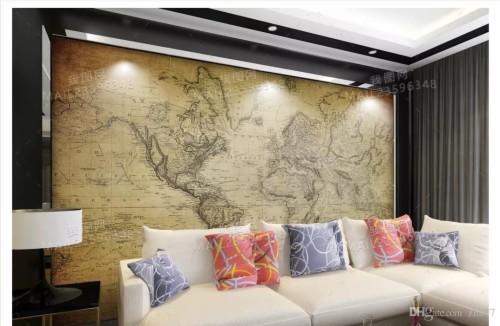 Ongekend Papel De Parede Custom 3d Photo Mural Wallpaper Home - Wereldkaart QY-99
