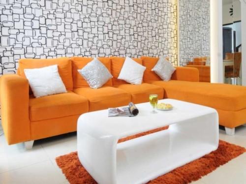 Ruang Tamu Warna Orange Dan Abu Abu Wallpaper Ruang Cat