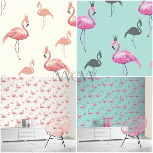 Details About Pink Flamingo Wallpaper Yellow Tropical Greater