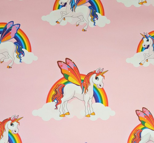 Rainbow Unicorn Wallpaper Girls Multicoloured Pony Unicorn